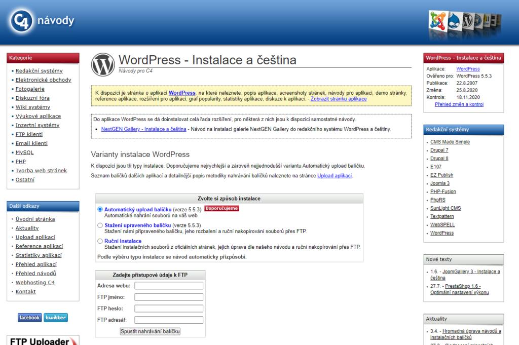 Webhosting C4 recenze instalace WordPress přes nápovědu
