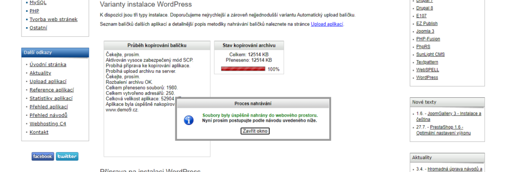 Instalace WordPress na Hosting C4 nahrávání balíčku na FTP