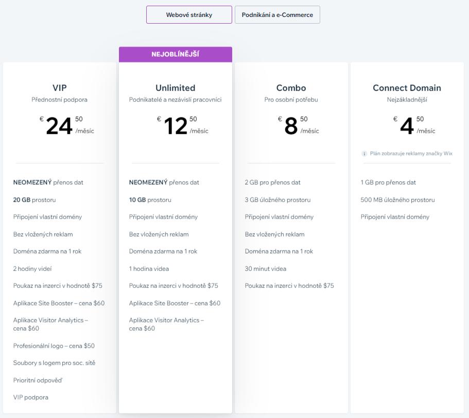 Wix vs. Webnode - Wix ceník pro webové stránky