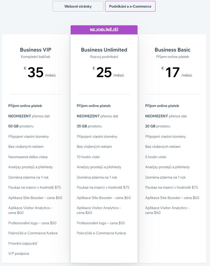 Webnode vs. Wix - Wix ceník pro e-commerce projekty