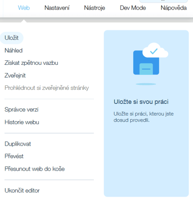 Webnode vs. Wix - Wix horní menu na webu