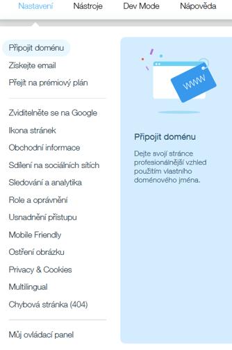 Wix vs. Webnode - Wix horní menu nastavení