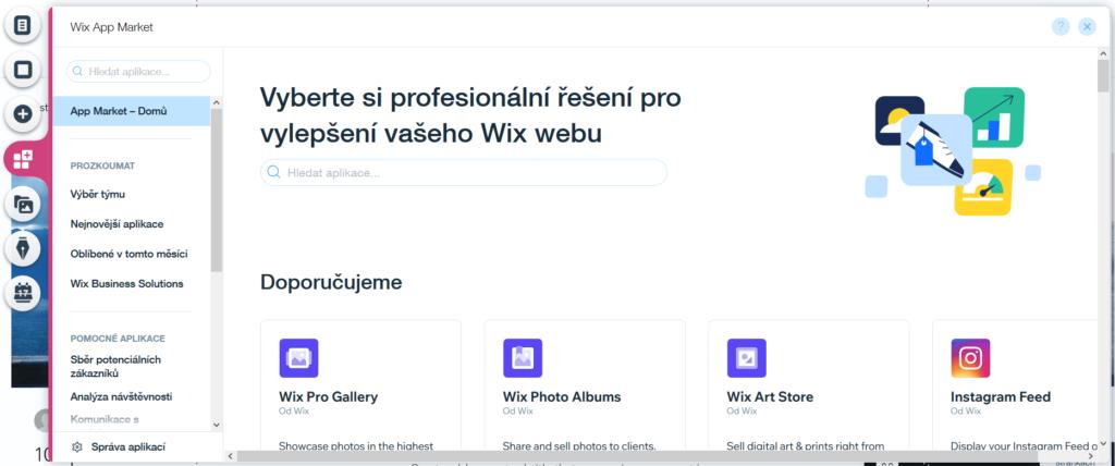 Webnode vs. Wix - Wix levé menu rozšiřující aplikace