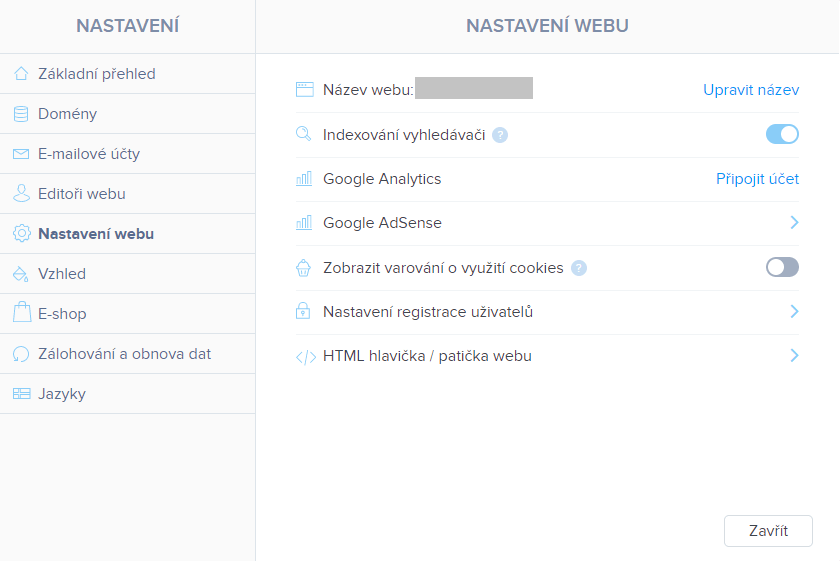 Wix vs. Webnode - Webnode SEO nastavení webu