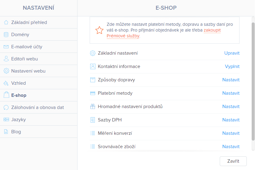 Webnode vs. Wix - Webnode nastavení e-shopu