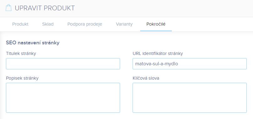Webnode vs. Wix - Webnode e-shop nastavení SEO pro produkt