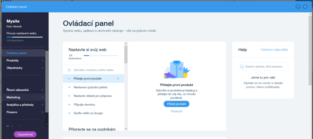 Webnode vs. Wix - Wix e-shop správce obchodu seznam