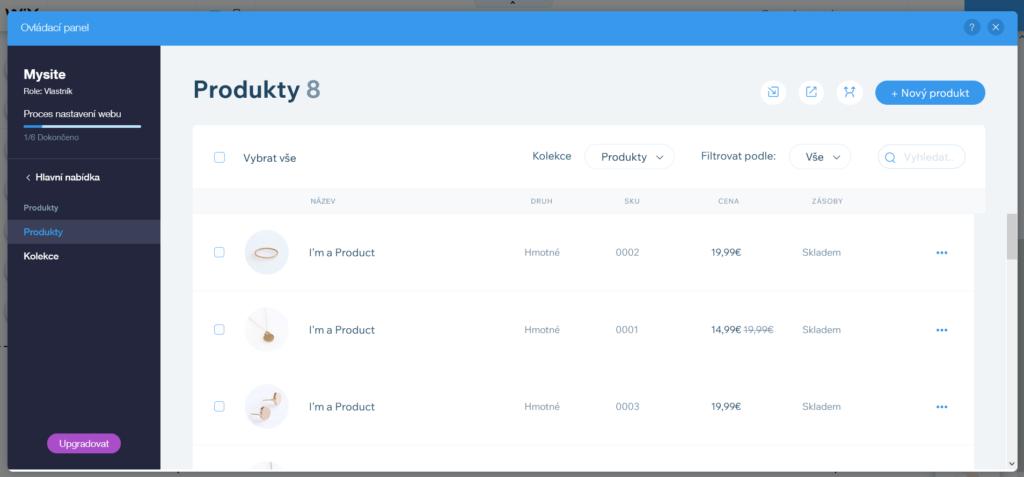 Webnode vs. Wix - Wix e-shop správce produktů seznam