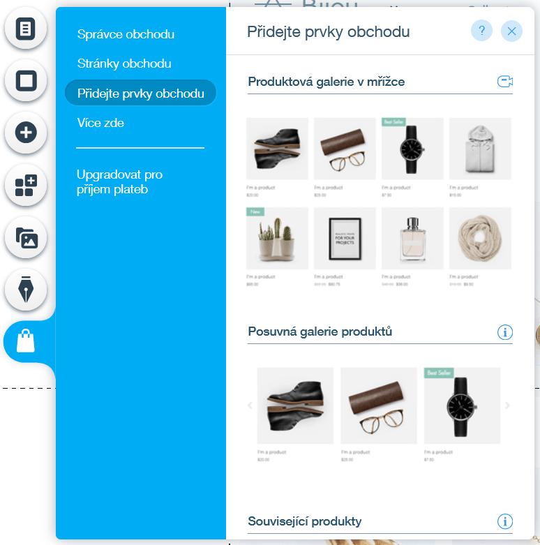 Webnode vs. Wix - Wix e-shop přidání prvků e-shopu