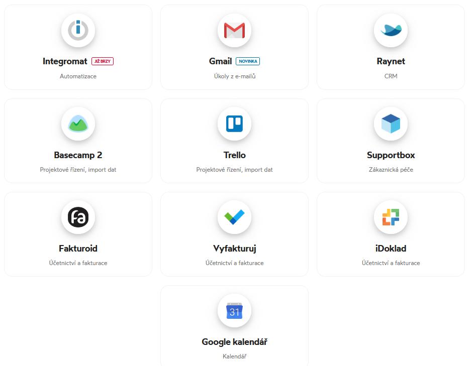 Seznam nástrojů, které lze propojit s Freelo