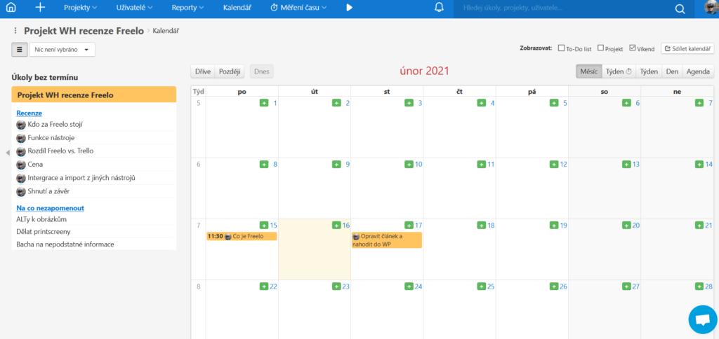 Kalendář s termíny úkolů
