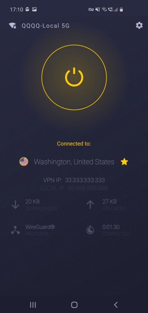 CyberGhost VPN recenze aplikace pro Android - parametry připojení
