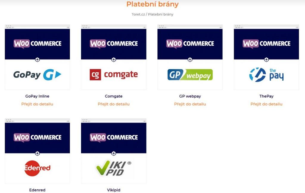 integrační pluginy toret na propojení platebních bran