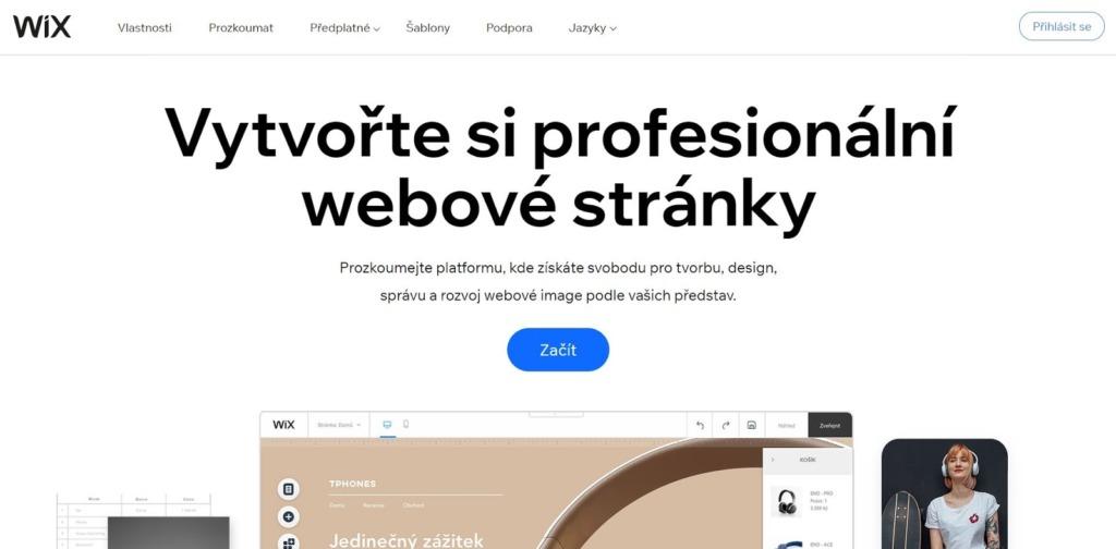 Hlavní stránka Wix.com