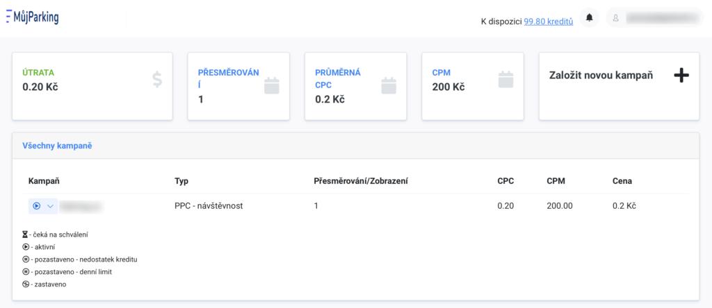 MujParking.cz - dashboard inzerenta