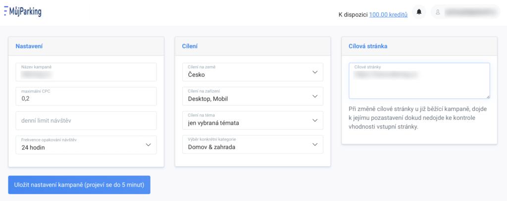 MujParking.cz - konfigurace kampaně