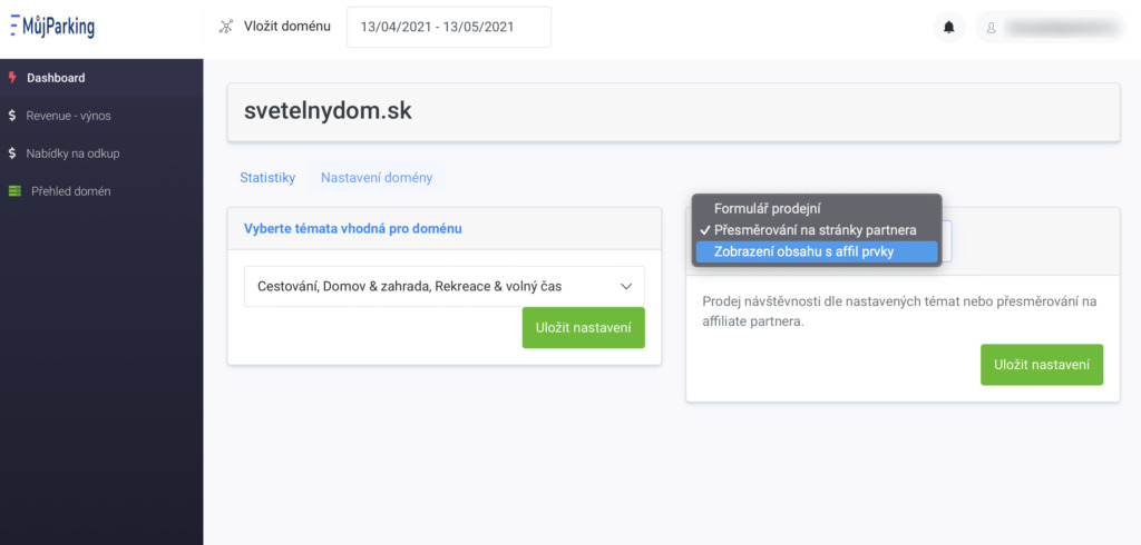 MujParking.cz - konfigurace domény