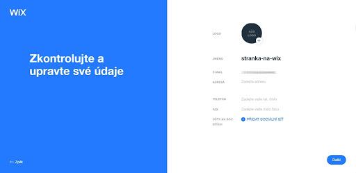 Wix: Vyberte své logo a doplňte další informace