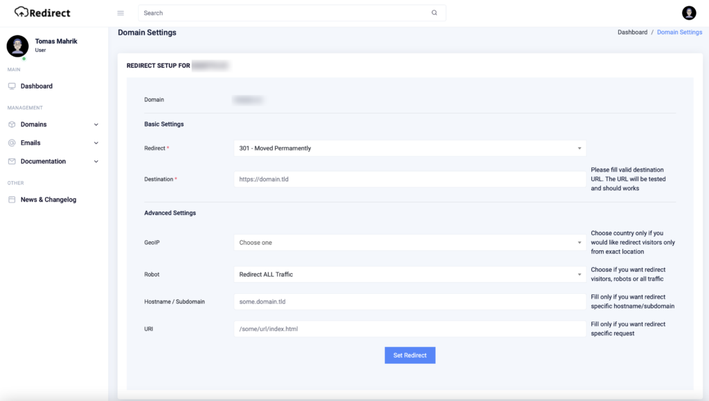 Redirect.host konfigurace pravidel pro přesěrování u domény