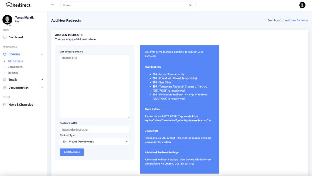 Redirect.host hromadné přídání domén do systému
