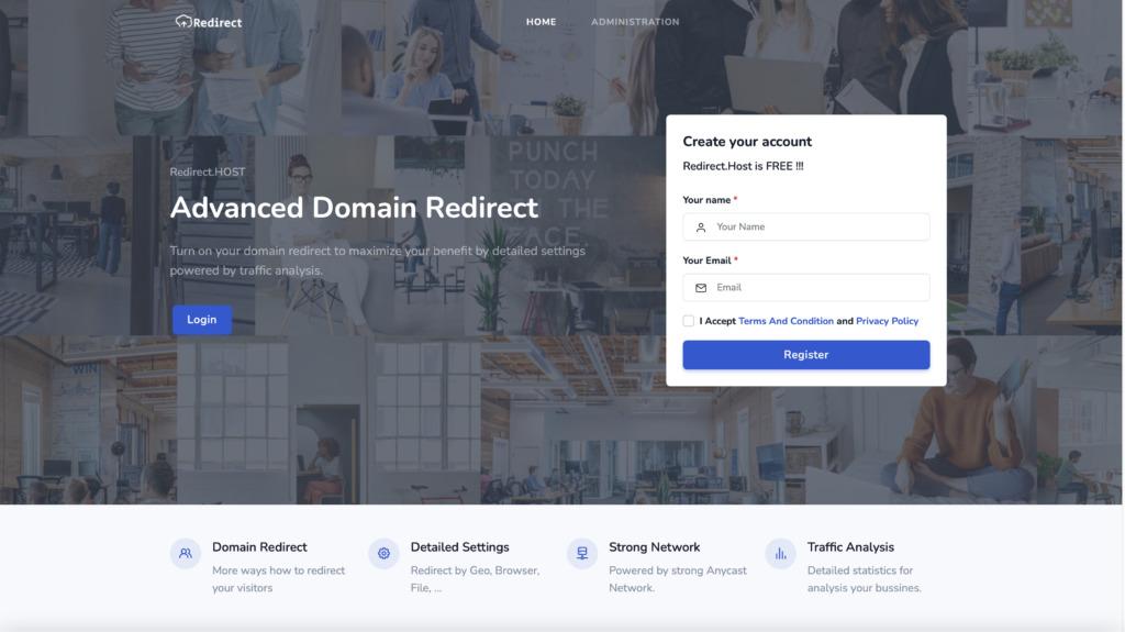 Redirect.host úvodní stránka