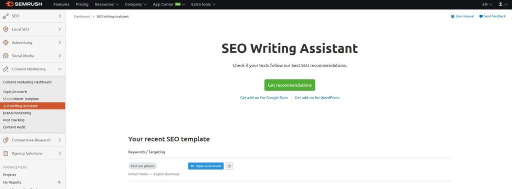 seo writing assistant ukázka nástroje