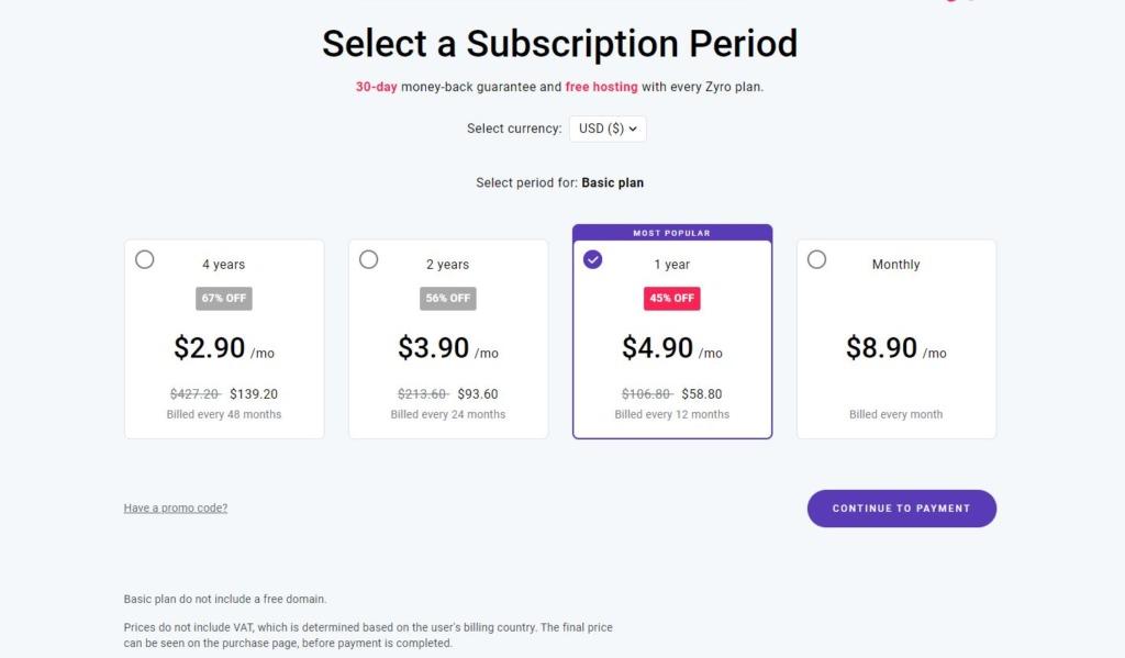 Příklad možností předplatného pro tarif Basic.