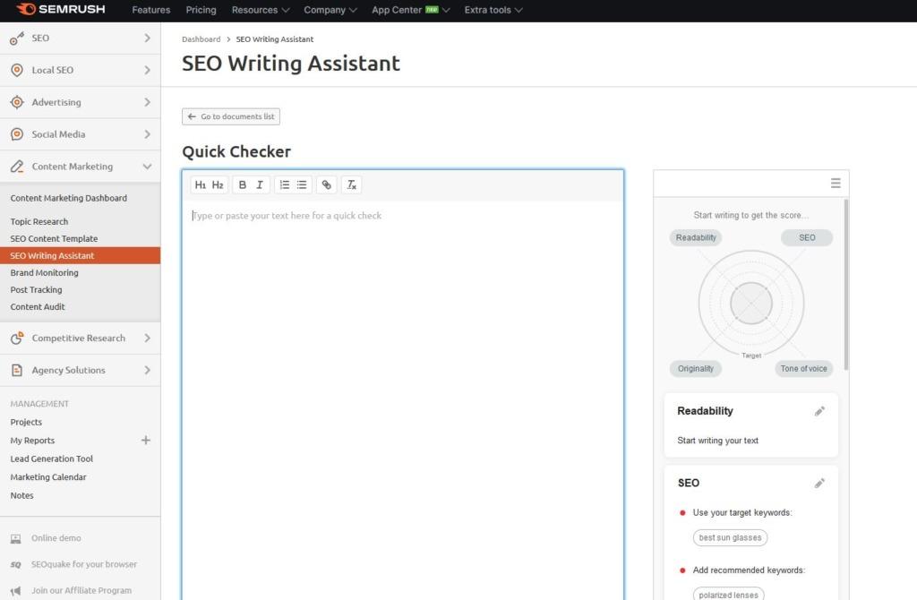 Editor obsahu SWA v Semrush