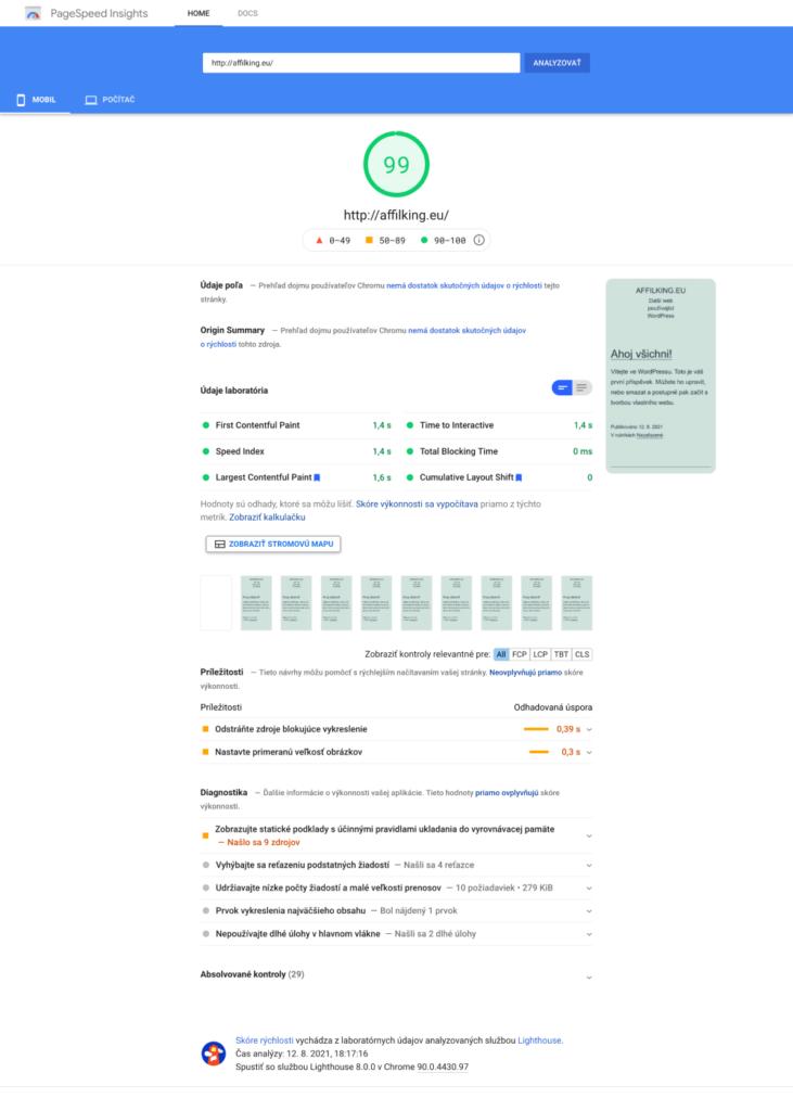 Wedos hosting PageSpeedInsight