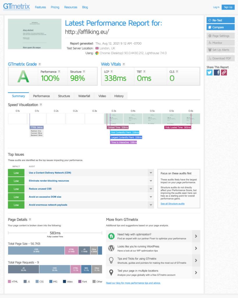 Wedos hosting GTmetrix