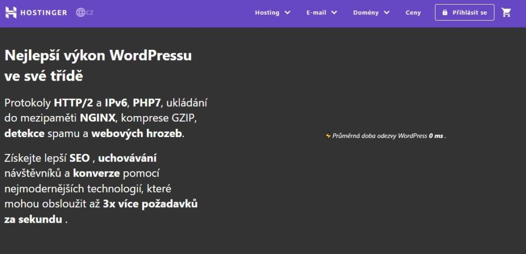 výhody wordpress hostingu Hostinger