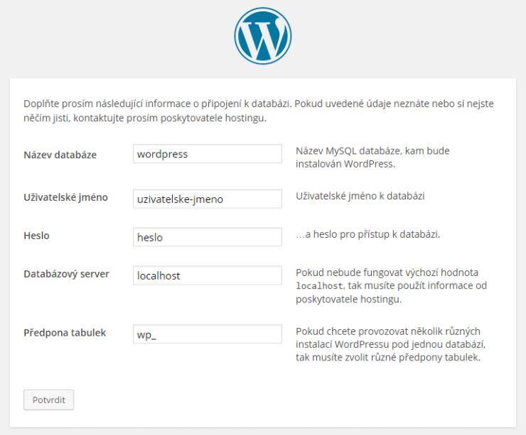 instalace wordpress 2. krok